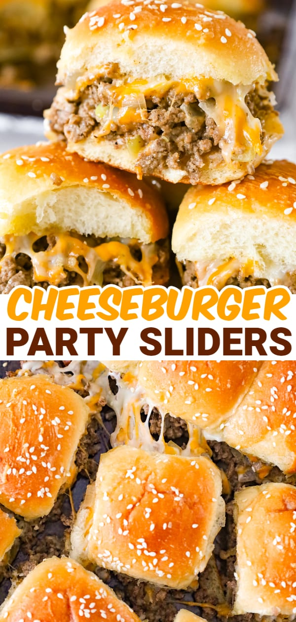 Cheeseburger Sliders are mini sandwiches made with crumbled ground beef and diced onions tossed in ketchup, mayo and mustard all loaded onto dinner rolls and topped with shredded cheese.