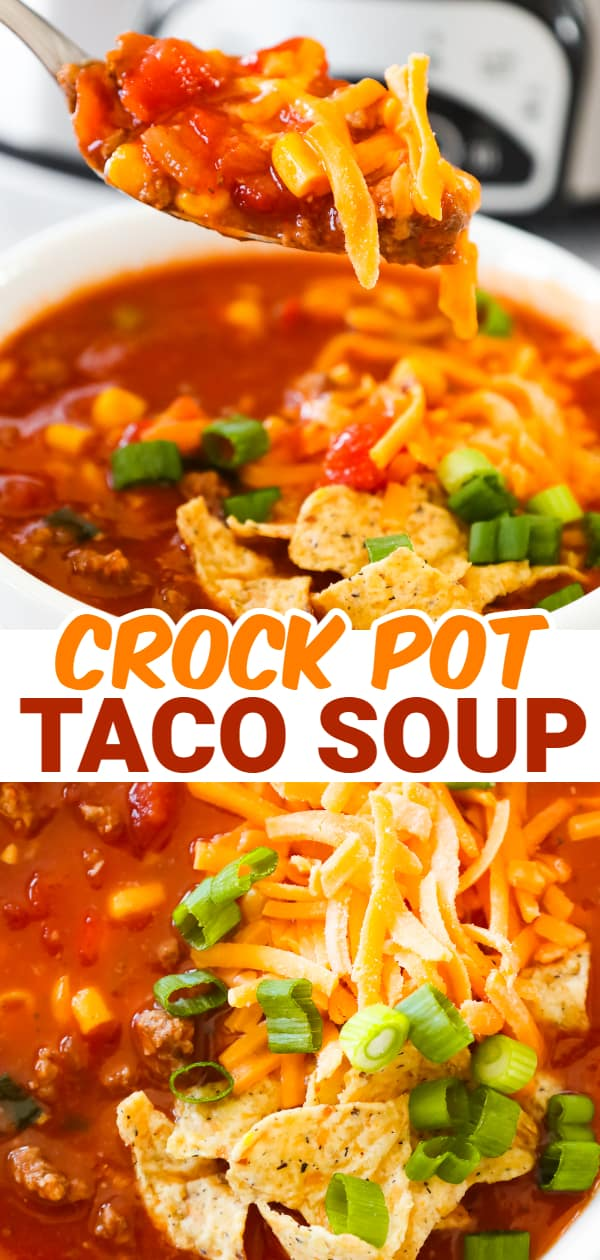 Crock Pot Taco Soup is an easy slow cooker soup recipe loaded with ground beef, Rotel diced tomatoes and green chilies, corn and chopped green onions.