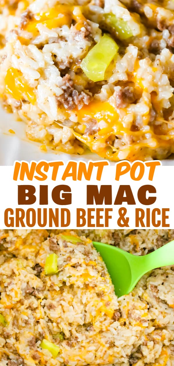 Instant Pot Big Mac Ground Beef and Rice is an easy pressure cooker dinner recipe made with long grain white rice and loaded with crumbled ground beef, diced dill pickles, mayo, Thousand Island dressing and shredded cheddar cheese.
