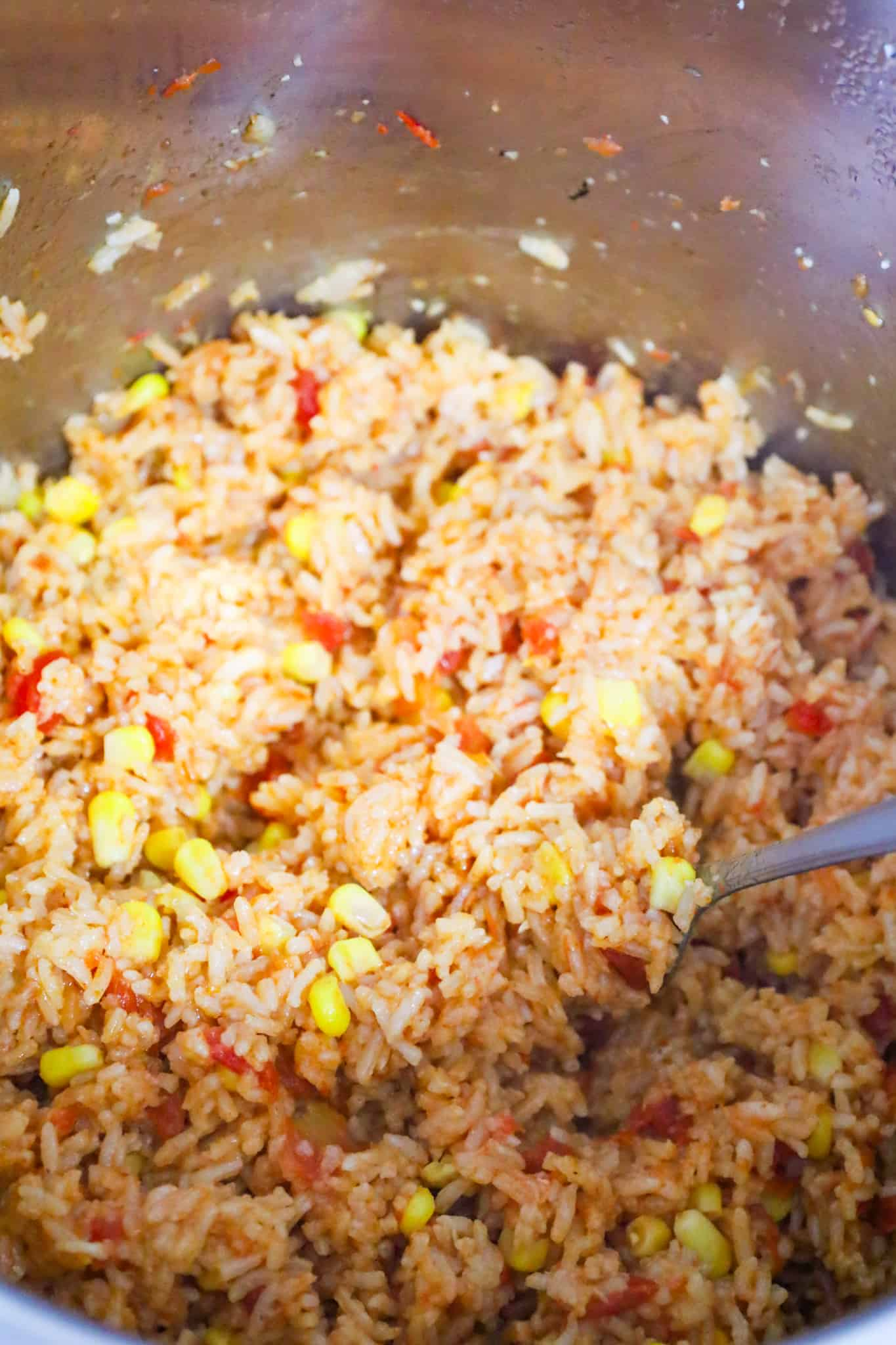 Instant Pot Spanish rice after fluffing with a fork and butter