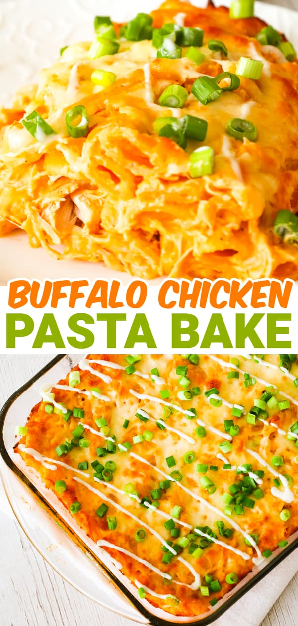 Buffalo Chicken Pasta Bake is a creamy baked penne pasta recipe loaded with shredded rotisserie chicken, cream cheese, Buffalo sauce, ranch dressing, parmesan cheese and mozzarella cheese.