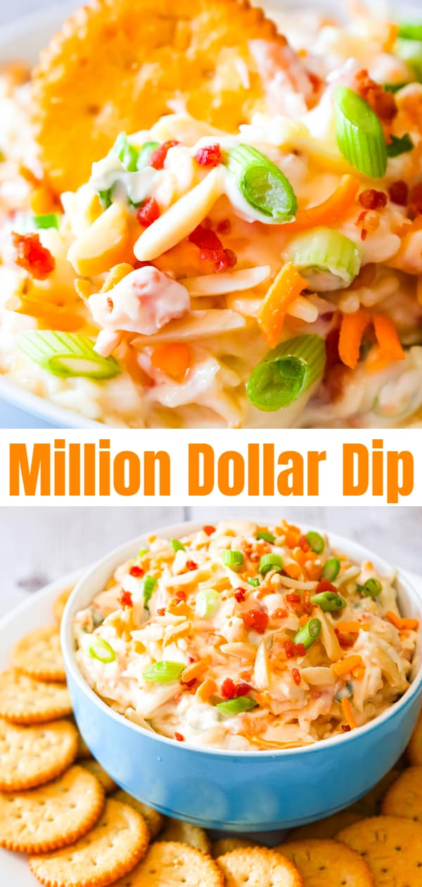 Million Dollar Dip is a delicious cold party dip recipe loaded with crumbled bacon, slivered almonds, chopped green onions, mayo, parmesan, mozzarella and cheddar cheese.