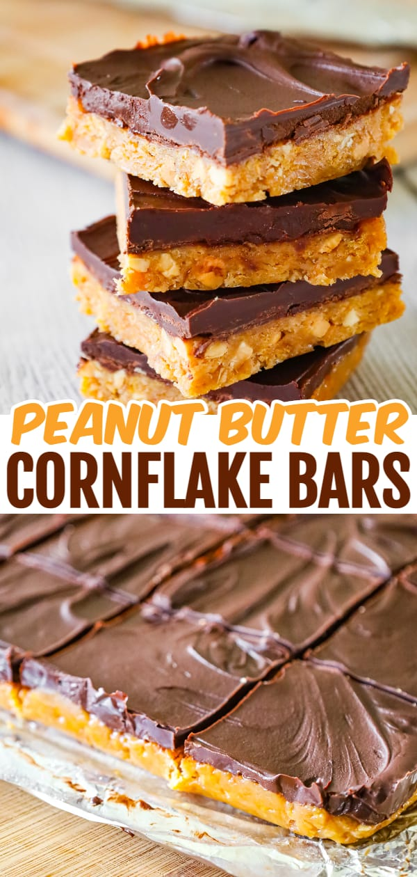 Peanut Butter Cornflake Bars are a decadent chocolate peanut butter dessert recipe made with corn syrup, crunchy peanut butter, crumbled cornflakes cereal and semi sweet chocolate chips.