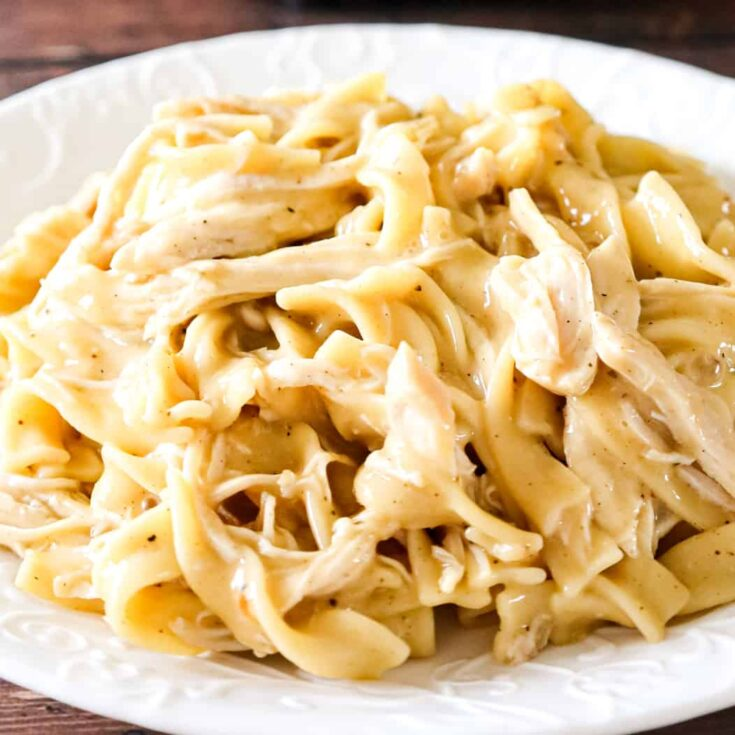 Instant Pot Chicken and Noodles is an easy pressure cooker dinner recipe using boneless, skinless chicken breasts and egg noodles in a sauce made with chicken broth, cream of chicken soup and chicken gravy mix.