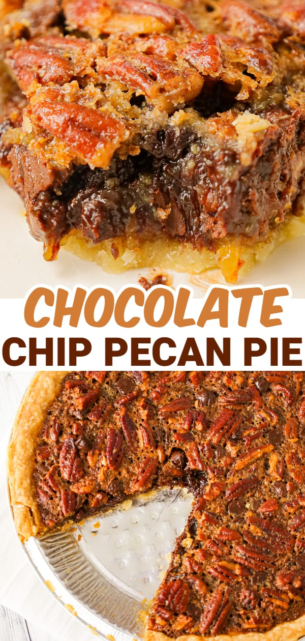 Chocolate Chip Pecan Pie is a decadent chocolate and caramel pie loaded with pecans.