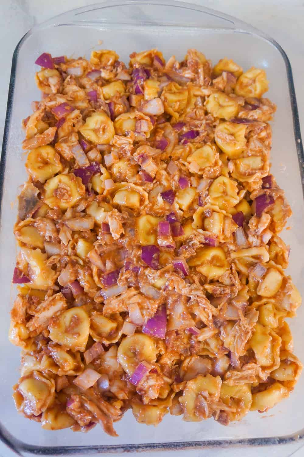 bbq chicken tortellini in baking dish