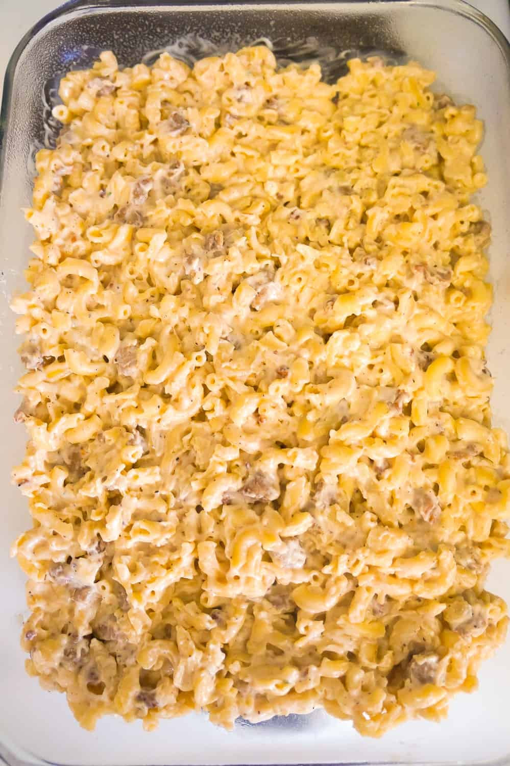 breakfast mac and cheese in a baking dish