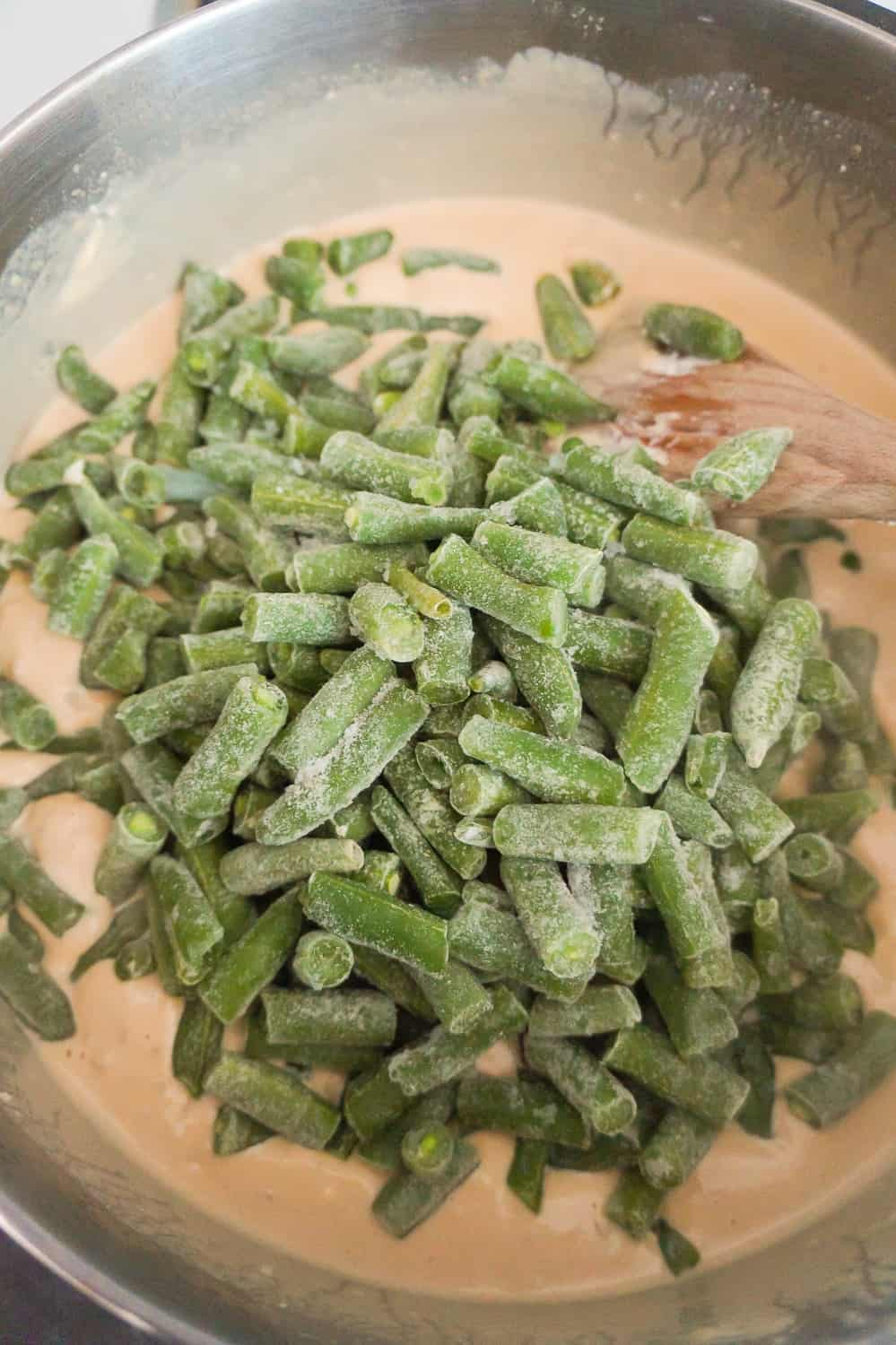 frozen green beans added to onion soup mixture