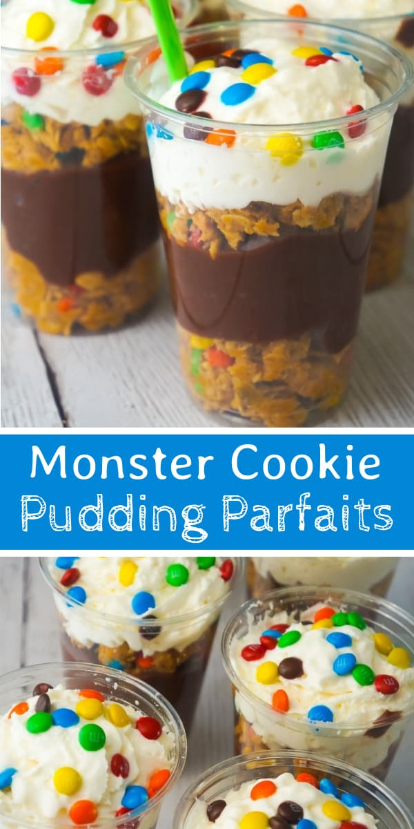 Monster Cookie Pudding Parfaits are a fun and easy no bake dessert perfect for summer. These colourful dessert cups are loaded with oatmeal peanut butter cookie dough, chocolate pudding and mini M&Ms.