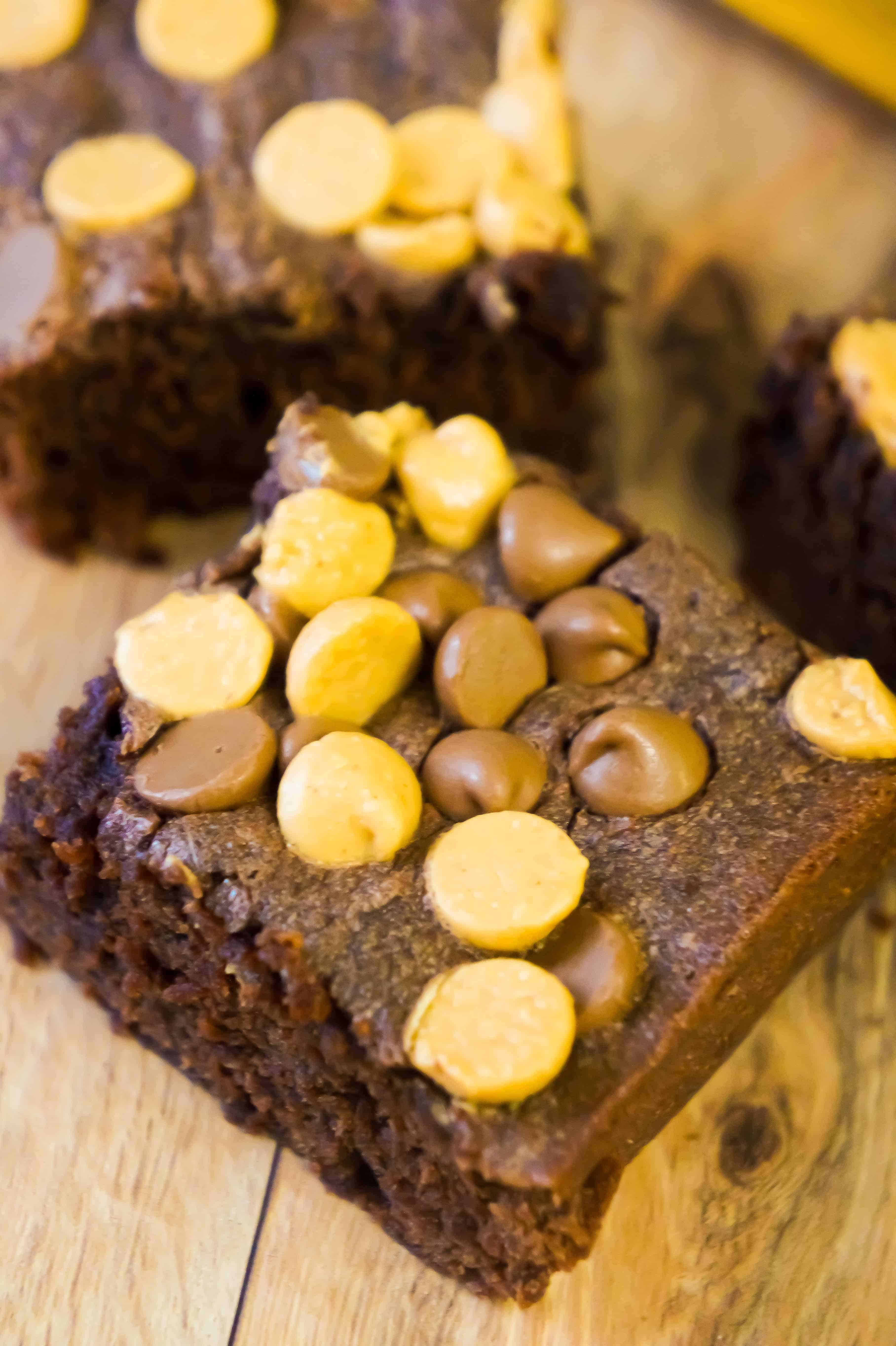 Peanut Butter Banana Brownies are an easy dessert recipe loaded with peanut butter and chocolate chips.