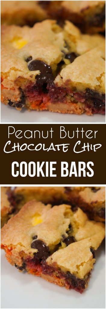 Peanut Butter Chocolate Chip Cookie Bars are an easy dessert recipe. These cake mix cookie bars are loaded with chocolate chips and Reese's Pieces candies.