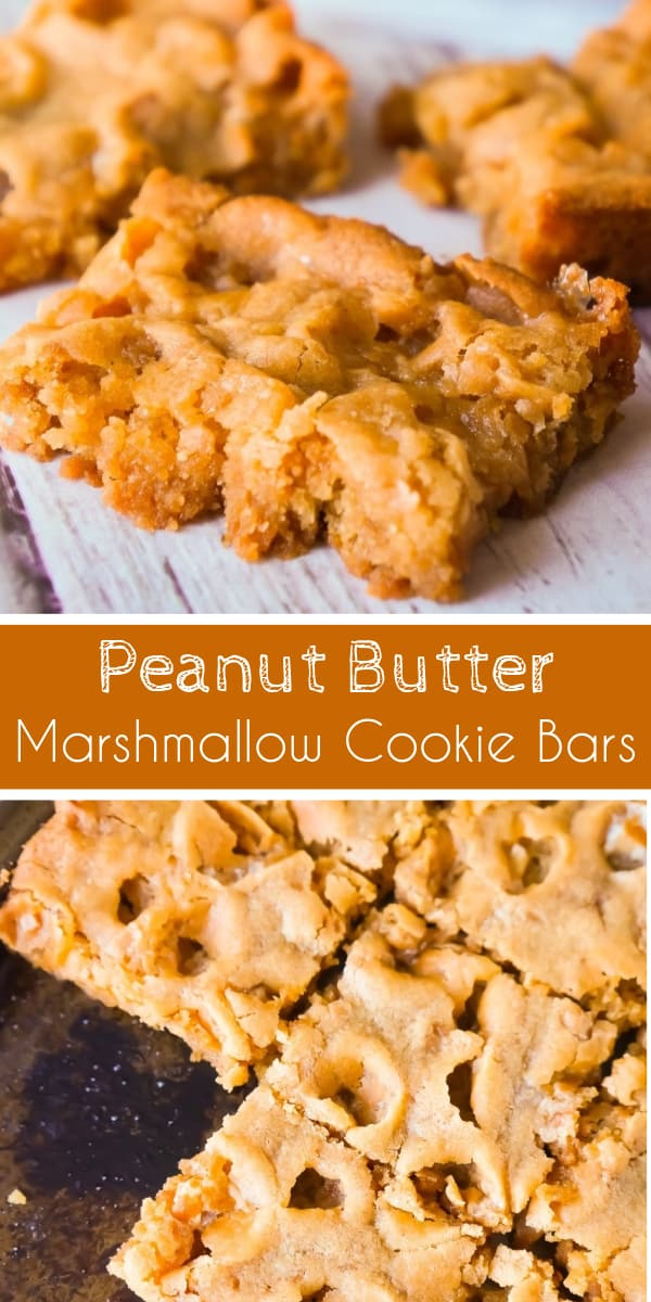 Peanut Butter Marshmallow Cookie Bars are an easy and delicious dessert. These peanut butter cookie bars are soft and chewy and loaded with Skor bits.