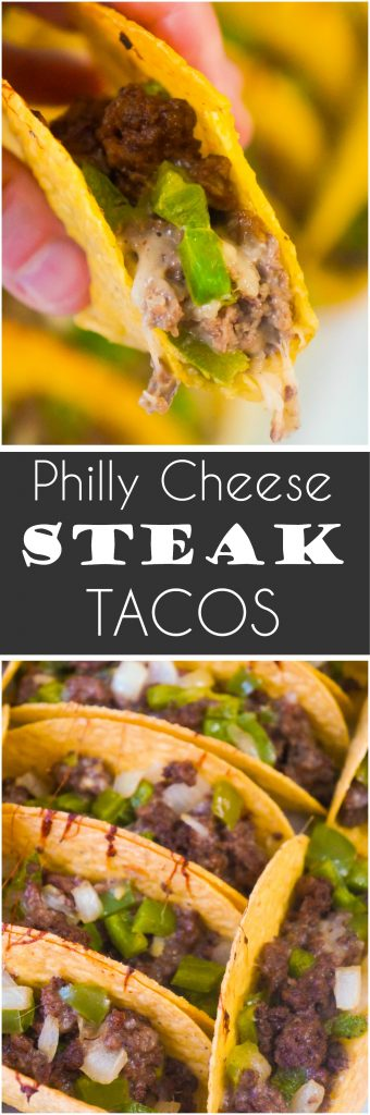 Philly Cheese Steak Tacos are an easy ground beef dinner or party food recipe. These baked tacos are loaded with green peppers, onions and mozzarella cheese. Serve these ground beef tacos at your Super Bowl party.