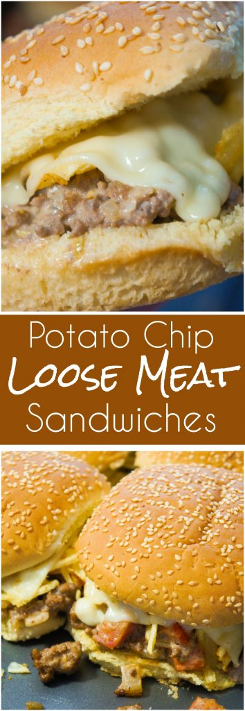 Potato Chip Loose Meat Sandwiches are an easy dinner recipe and fun change from the classic burger. These ground beef sandwiches are loaded with potato chips and Swiss Cheese.