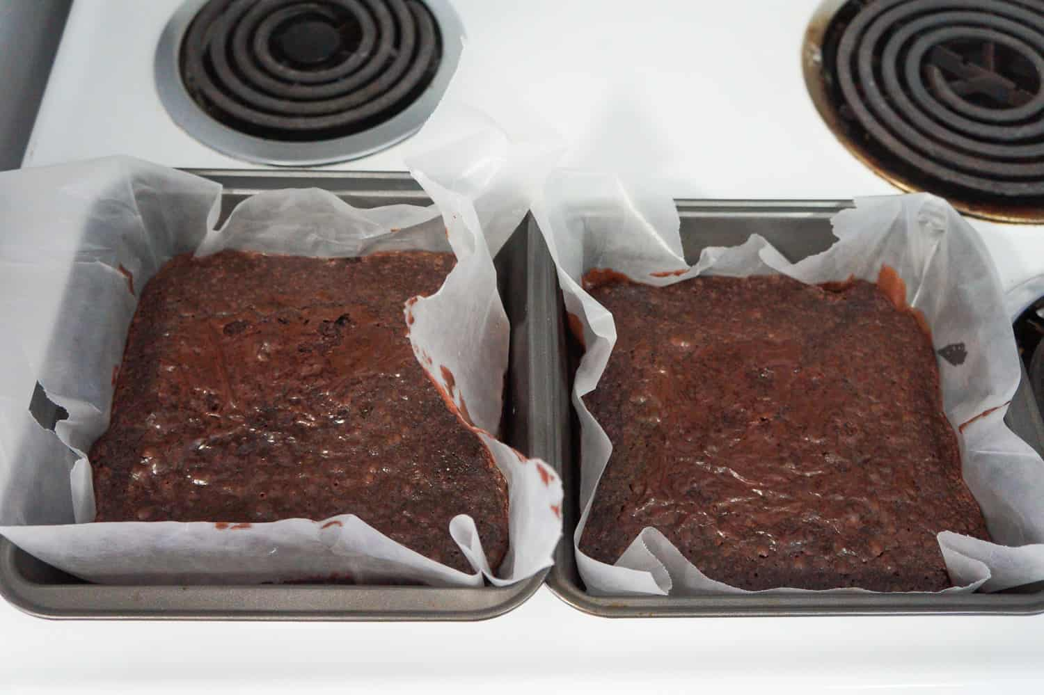 baked brownies in two 8 inch square pans