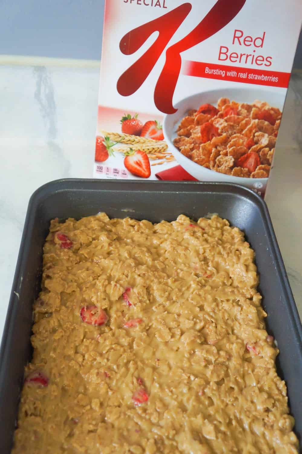 special k red berries blondies before baking